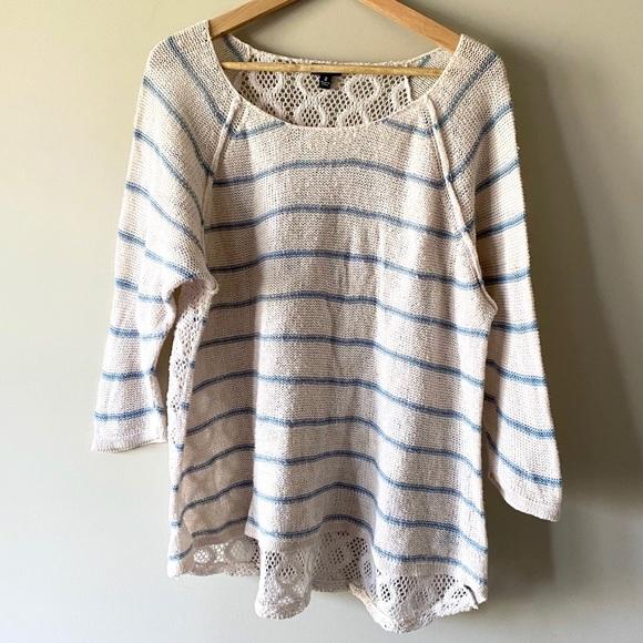 Torrid Cream & blue stripe 3/4 knit sweater size 2